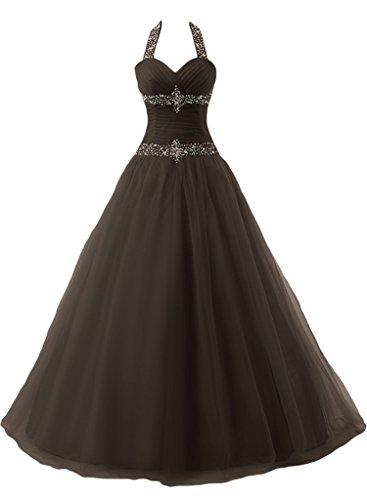 ivyd ressing Mujer favorita Neck Holder con piedras Duchesse–de línea Prom vestido largo fijo para vestido de noche marrón