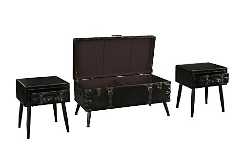 3 Piece Faux Leather Upholstered Coffee and Side Tables Living Room Set (Dark Brown)