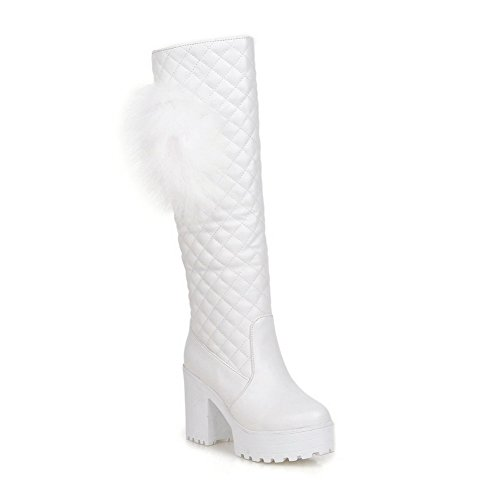 Allhqfashion Women's Pull On Round Closed Toe High Heels Pu Solid Boots White