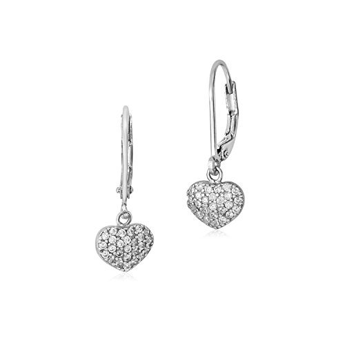 MASSETE Sterling Silver 925 Pave CZ Heart Leverback Earrings Dangle