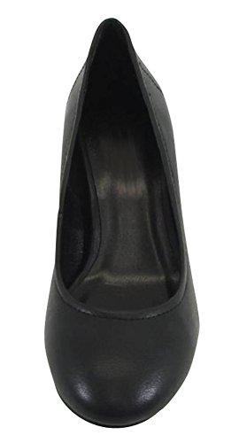 On Mid Black Cambridge Round Women's Toe Block Pump Slip Heel Pu Select Chunky 8AqXwAFBx