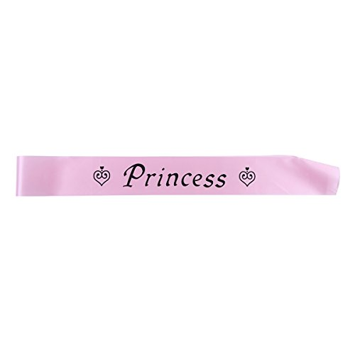TiaoBug Happy Birthday Princess Satin Shoulder Sash Birthday Party Decorations Pink#1 One ()