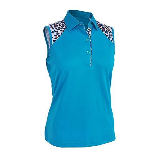 (Monterey Club Ladies Dry Swing Leopard Colorblock Sleeveless Shirt #2425 (Algiers Blue, 2X-Large))