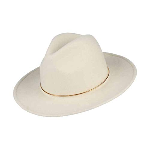 (Wool Felt Wide Brim Fedora Hats for Women Trilby Jazz Cap Sunhat with Metal Ring White)