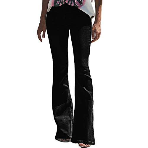 SERYU Women Hight Waisted Hole Button Denim Jeans Stretch Flares Pants Length Jeans