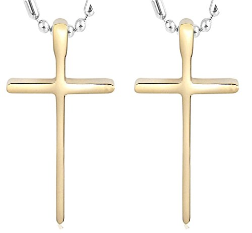 Daesar His & His Necklace Set Couples Stainless Steel Guardian from God Crucifix Cross Pendant (Amazon.xo.uk)