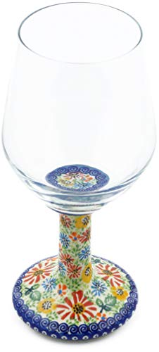 Polish Pottery 14 oz Wine Glass (Carnation Confetti Theme) Signature UNIKAT + Certificate of Authenticity from Polmedia Polish Pottery