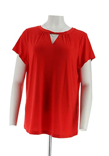 Susan Graver Knit Capsleeve Top Twisted Neckline Coral Flash L New A305882 from Susan Graver