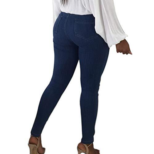 Alta Piedi Casuale Ol Leggings Pantaloni Cintura Wita A Comodi Blu Colori Matita Stretti Moda Con Scuro Larghi Donna Cinque YqwOHFH