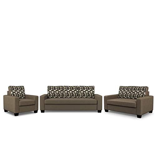 Cloud Shell Trieste Fabric 3 + 2 + 1 Brown Sofa Set