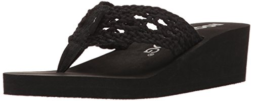 Rocket Dog Women's Aviara Stapleton Cotton Rope Wedge Flip Flop, Black, 8 M US (Low Wedge Flop Flip)