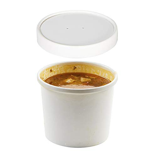 (Set of 200) 12 oz White Paper Soup Containers with Lids Combo Pack, Take Out Hot/Cold Food Containers, Ice Cream/Frozen Yogurt Dessert Cups,  / to-Go Disposable Deli Containers ()