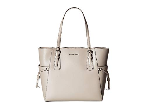 MICHAEL Michael Kors Voyager East West Signature Tote (Pearl Grey/Silver)