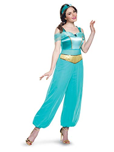 Princess Jasmine Red Halloween Costume (Disney Women's  Jasmine Deluxe Adult Costume, Turquoise,)