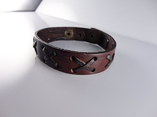 Brown Genuine Braided Leather Men Bangle Bracelet by Handmade Studio HS3022B - Fossil Brand Charms