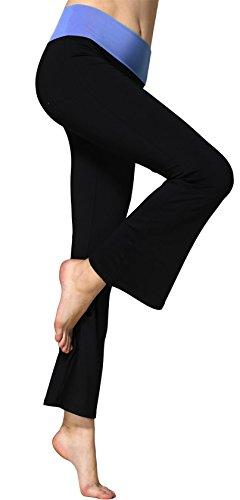 Sugar Pocket Women's Fold Over Waistband Bootleg Yoga Pants -