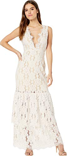 (WAYF Women's Meander Tierlace Maxi Dress Ivory/Nude Lace Small)