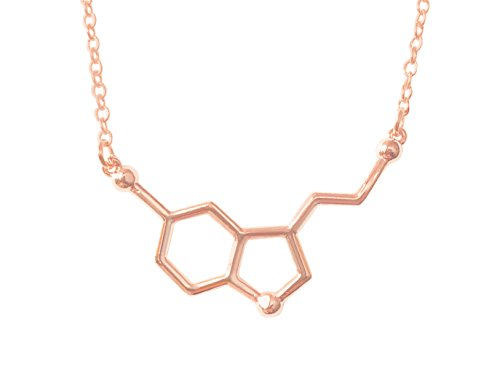 Altitude Boutique Happiness Serotonin Molecule Necklace, Serotonin Neurotransmitter Necklace, Science Jewelry for Science Lovers (Silver, Gold) (Rose Gold) (Happiness Jewelry)