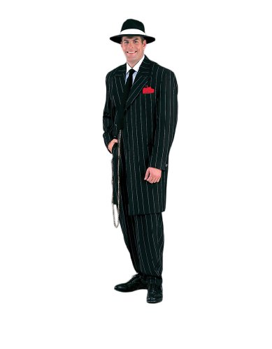Men's Deluxe Gangster Zoot Suit Theater Quality Costume, Black, (Gangster Zoot Suit Black Costumes Tie)