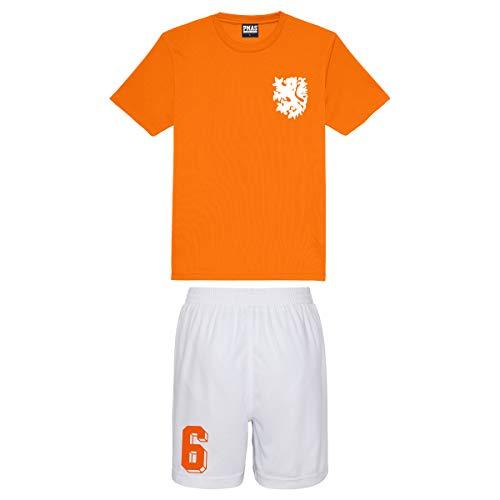 Print Me A Shirt Niños Personalizables Equipo de fútbol Holanda Nederlands Estilo Camiseta de fútbol y Pantalones Cortos…
