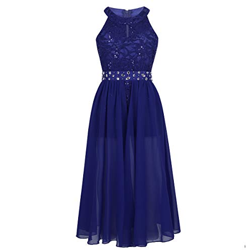 iEFiEL Girls Halter Lace Chiffon Flower Wedding Bridesmaid Dress Junior Ball Gown Formal Party Pageant Maxi Dress Blue Floor Length 14 - Wedding Gown Pageant Prom