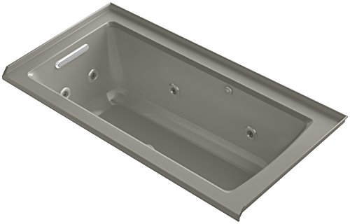 KOHLER K-1947-XHGL-K4 Archer 60-Inch x 30-Inch Alcove Whirlpool Bubble Massage Air Bath with Tile Flange and Left-Hand Drain, Cashmere