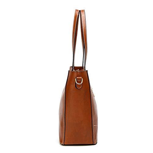 Cuero Hombro Y Bolsos Wof Para Capacidad Mujer Brown Práctica Moda Suave Gran color Bolso Con De Negro qtqSg