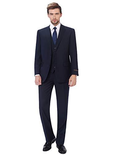 P&L Men's Classic Fit 3 Piece Suit Blazer Jacket Tux Vest & Flat Pants Set (Best Slim Cut Suits)