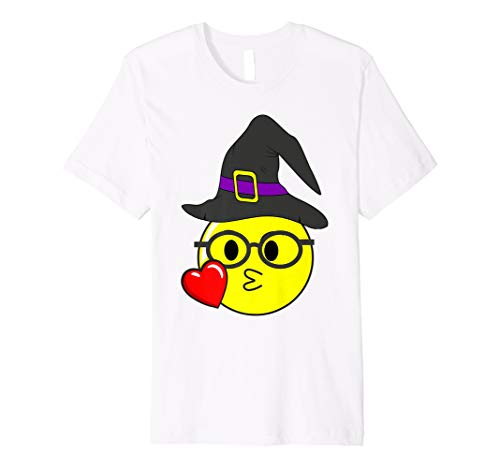 Funny Halloween Emojis Witch with Glasses Kissing Nerd Face ()