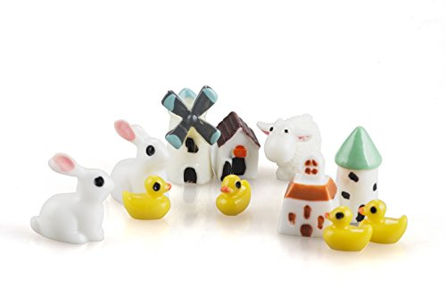 Incredible art 11pcs Fairy Garden animal house Miniature Ornament DIY Kit ()