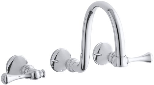 - KOHLER K-T16106-4A-CP Revival Wall-Mount Lavatory Faucet Trim with Traditional Lever Handles and 9