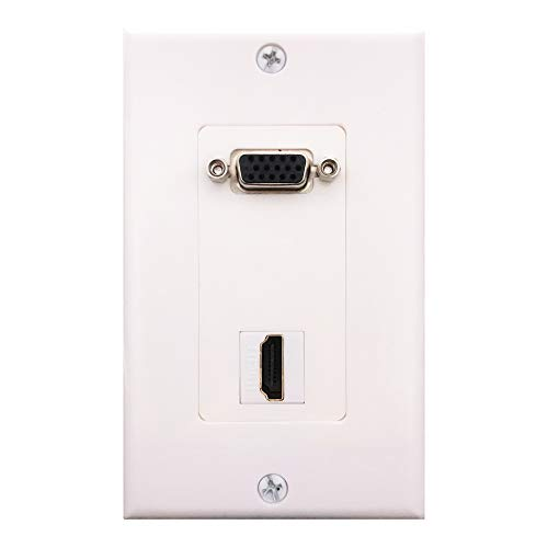 Hd15 Wall Plate - HDMI VGA Wall Plate,Yomyrayhu,1 Port HDMI Keystone F/F + 1 Port VGA HD15 F/F Audio Video Outlet Mount Socket Component Composite Face Plate Cover