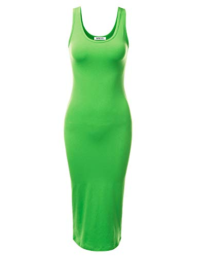 - NINEXIS Women's Sleeveless Basic Scoop Neck Fitted Stretchy Midi Tank Dress Green M