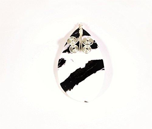 Zebra Jasper Pendant with Silver Spirals