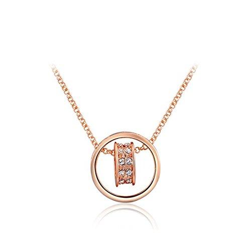 [AROUND 101 Women Swarovski Elements Austrian Crystal Heart-shaped Zircon Pendant Necklace (Rose Gold)] (Austrian Costume Jewelry)