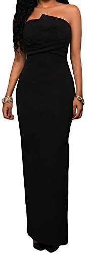 DH-MS Dress Women's Elegant Black Origami Top Strapless Long Length Maxi Dress (Mustache Spandex Sheer Pantyhose)