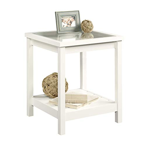 "Sauder 416136 Cottage Road Side Table, L: 21.50"" x W: 21.50"" x H: 25.00"", Soft White finish"