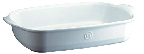 Emile Henry 119654 France Ovenware Ultime Rectangular Baking Dish, 16.5 x 10.6, Flour White