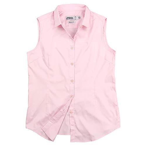 Urban Boundaries Womens Basic Tailored Sleeveless Cotton Button Down Shirt(Light Pink, XX-Large)