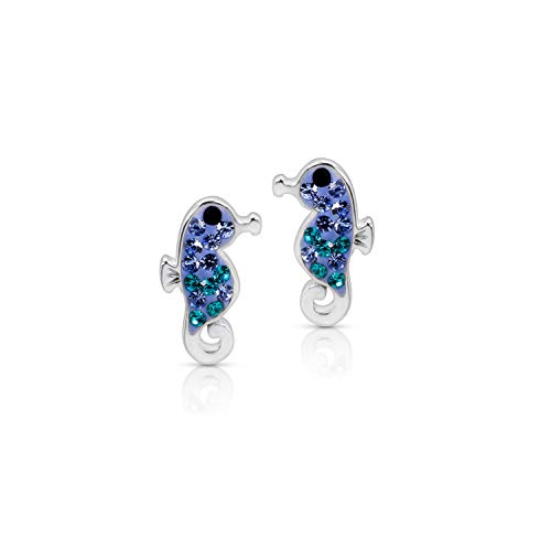 Blue Ocean Seahorse (Hippocampus) Fish Crystal Earrings Never Rust 925 Sterling Silver Natural & Hypoallergenic Studs For Women and Girls with Free Breathtaking Gift Box for a Special Moment of Love (Studs Sea Blue)
