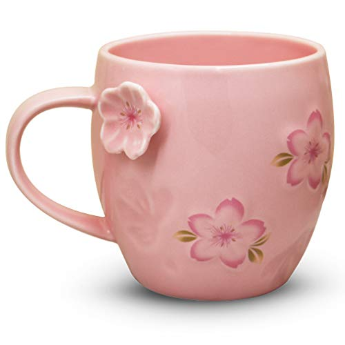 (Notrefly Flower Mug Cherry Blossom Coffee Mug,Pink Ceramic Tea Cup Gift For Mom Grandma Women And Girls,12oz)