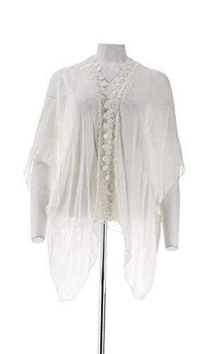 Curations Lace Crochet Trim Ruana Open Front 3/4 SLVS White One Size New 540-222 (Curations)