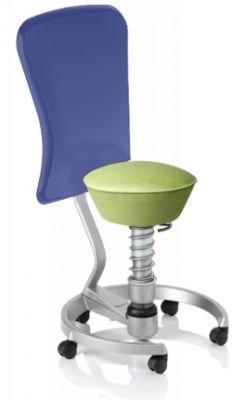 Aeris Swopper Classic - Bezug: Microfaser / Pistacchio | Polsterung: Tempur | Fußring: Titan | Universalrollen für alle Böden | mit Lehne und blauem Microfaser-Lehnenbezug | Körpergewicht: MEDIUM
