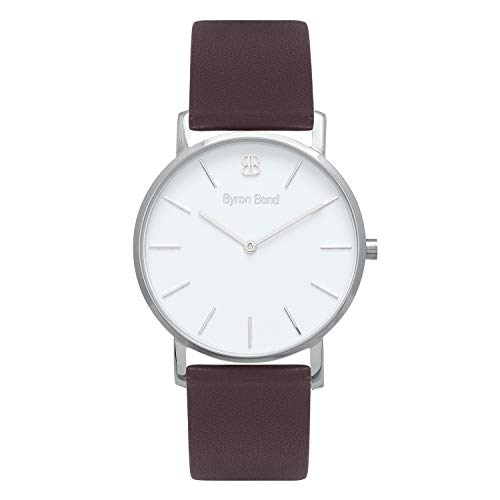 - 38mm Ultra Thin Slim Case Minimalist Fashion Watch for Men & Women by Byron Bond (Richmond - Silver Case with White Dial and Dark Brown Leather Strap)