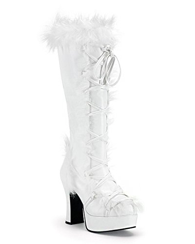 [Womens Viking Boots White Faux Fur Boots 4 Inch Heels Halloween Costume Shoe Size: 10] (Halloween Costumes 4 Heel)