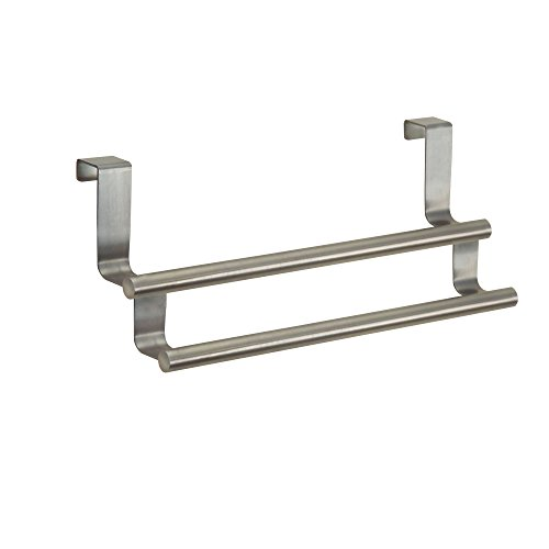 mDesign Kitchen Over-the-Cabinet Double Towel Bar Holder for Hand Towels, Dish Towels- 9