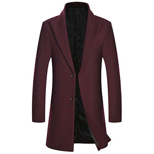 Zeetoo Men's Classic Peacoat Wool Blend Slim Fit Trench Coat Overcoat Wine Red