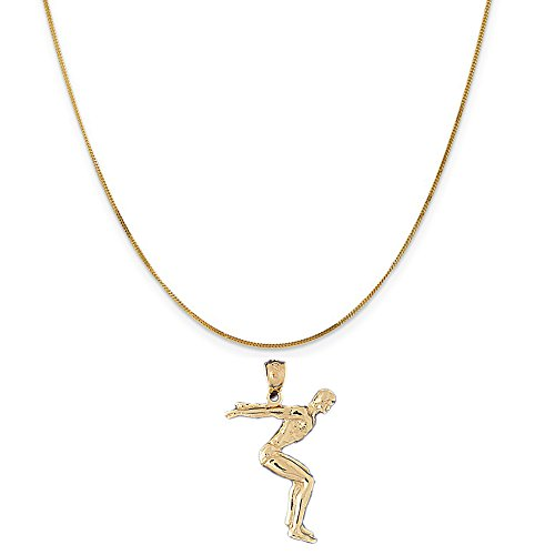 14k Yellow Gold Diving Pendant on a 14K Yellow Gold Curb Chain Necklace, 16'' by Eaton Creek Collection