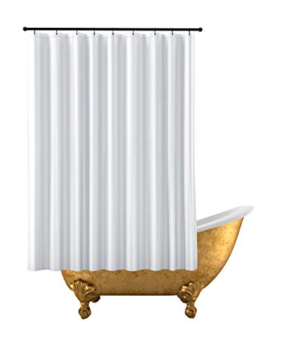Kimberly-Carr Home Designs' THE SHOWER CURTAIN LINER PVC-Free, Hotel Quality Mildew Resistant Washable Fabric, Water-Repellent, Elegant White Damask Stripe, Eco Friendly, STANDARD Size (71' W x 71' L)
