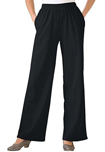 Women's Plus Size Tall 7-Day Wide Leg Knit Pants Black,4X